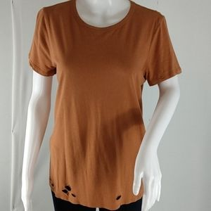 Forever 21 Distressed Rust Colored Tee Shirt